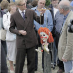 Mark Hill with a Pelham Puppet at an Antiques Roadshow at the Weald & Downland Museum