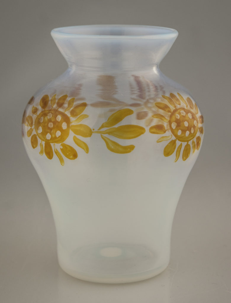Enamelled Opalescent Sunflower Vase
