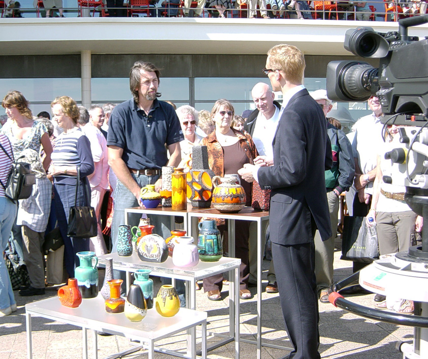 Mark Hill valuing Fat Lava on an Antiques Roadshow at the De la Warr Pavilion
