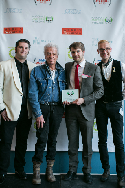 Winner - The Antiques Young Gun 2013 - Timothy Medhurst, 21 year old auctioneer and coin specialist at Essex auctioneers Reeman Dansie. From left: Organiser George Johnson, celebrity designer Nicky Haslam, Timothy Medhurst, Mark Hill