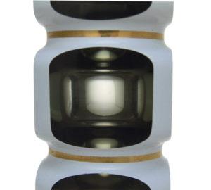 A Rare White Enamelled Grey Lens Vase, c1960