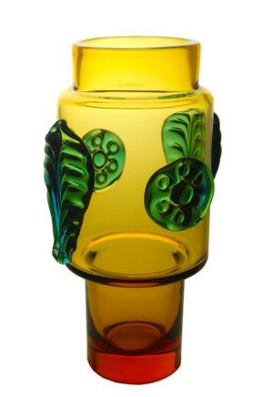 A Josef Hospodka Applied Leaf & Boss Vase