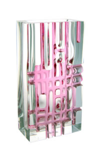 A Ladislav Oliva for Exbor Pink Grid Vase