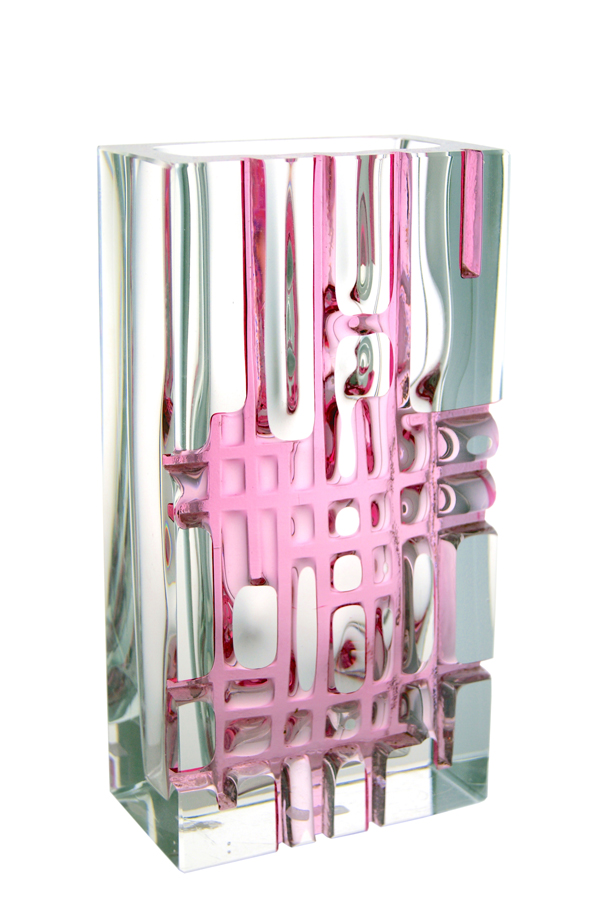 A Ladislav Oliva for Exbor Pink Grid Vase