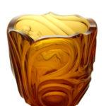 A Sklo Kodejs Amber Cut Vase