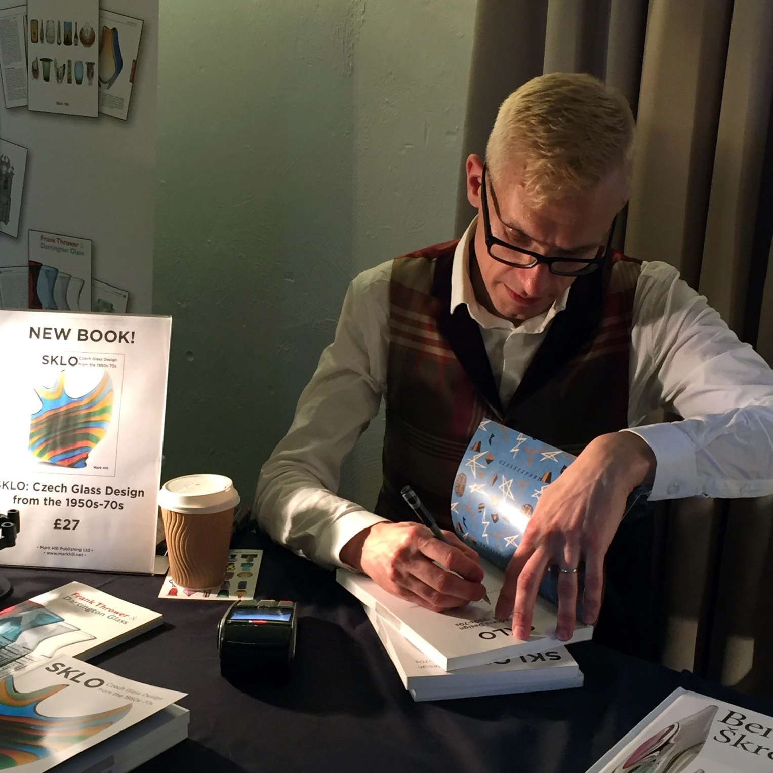 Mark Hill signing his new book on modern Czech Glass