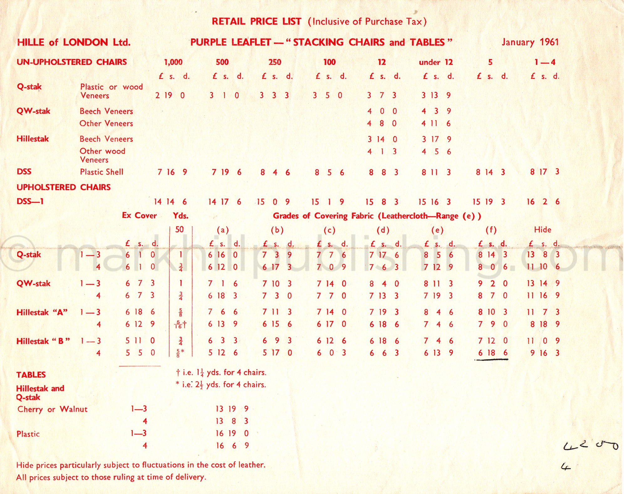 1960s original Hille furniture price list Robin Day Hillestak