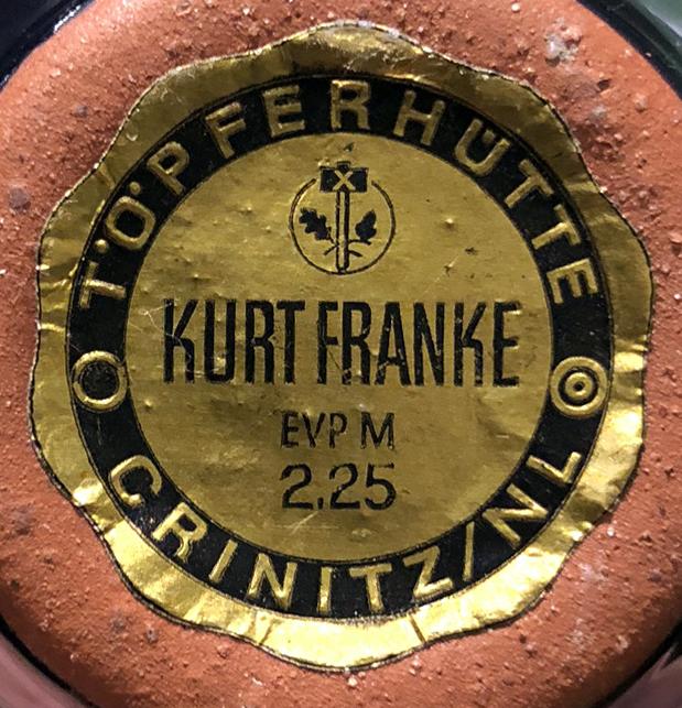 Kurt Franke Fat Lava Vase Label
