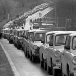 A traffic jam of Trabants on an Eastern German road