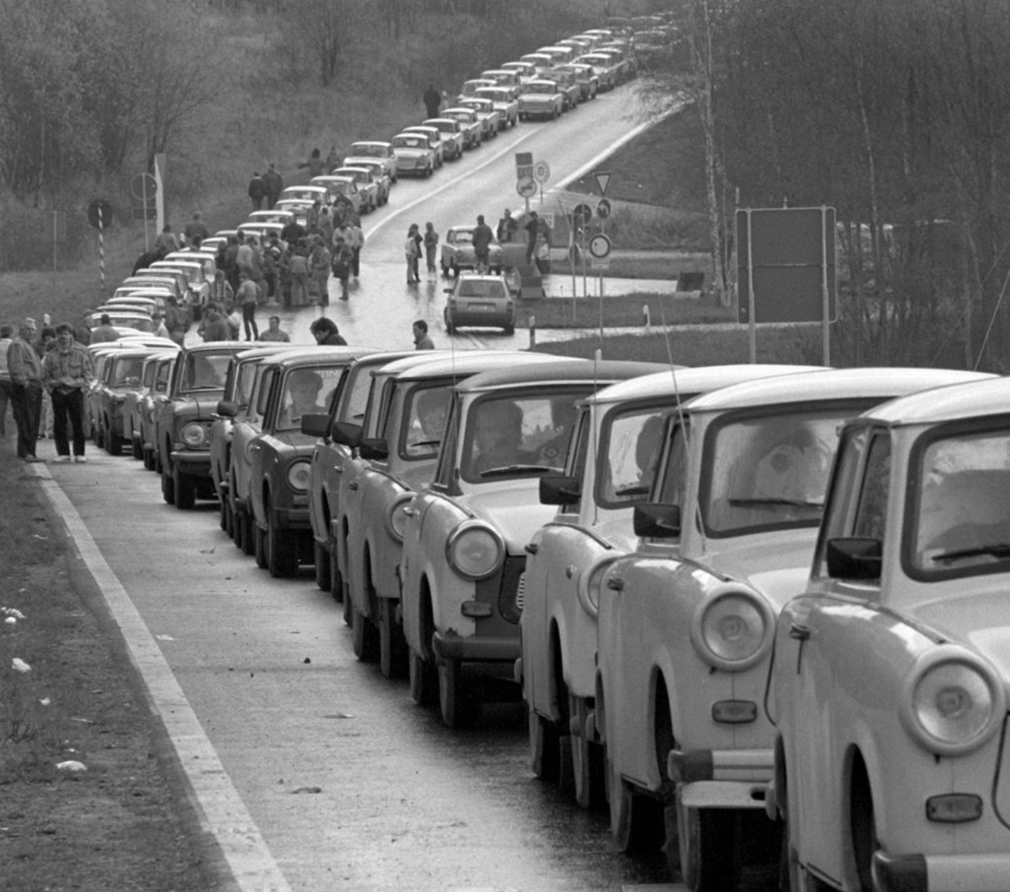 A traffic jam of Trabants on an Eastern German road